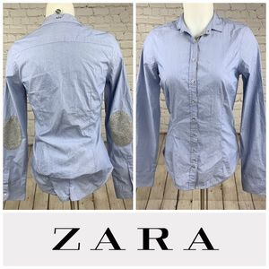 Zara Striped Button Down Shirt with Elbow Patches